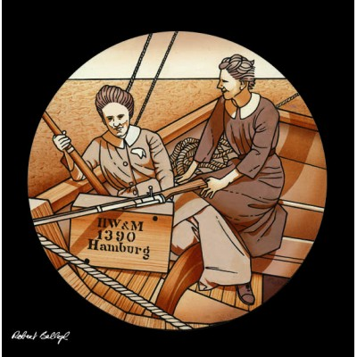 The Howth gunrunning: Molly Childers and Mary Spring-Rice aboard the Asgard.