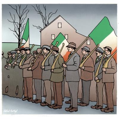 Irish Volunteers with hurleys